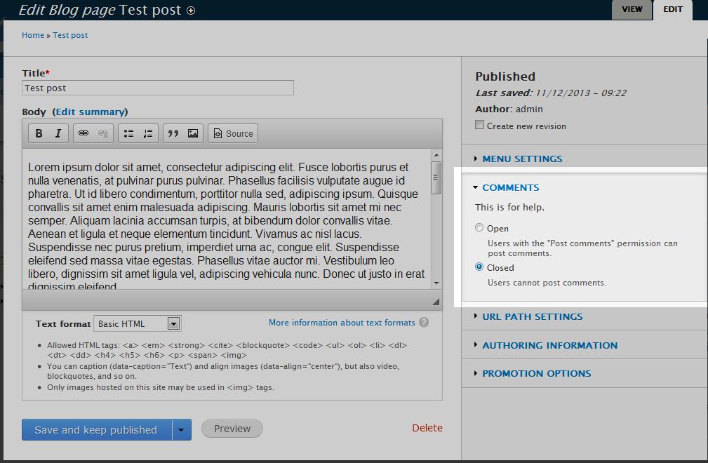 edu Drupal 8 204 disable comment 2 close comment