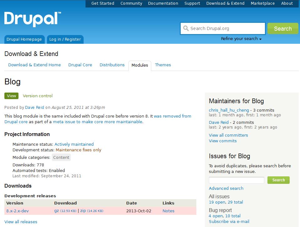 edu Drupal 8 204 install enable blog 1 blog module page