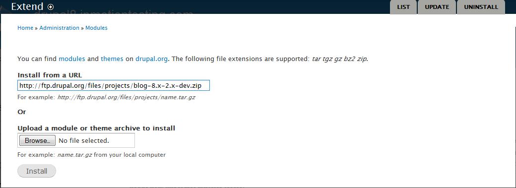 edu Drupal 8 204 install enable blog 3 enter url