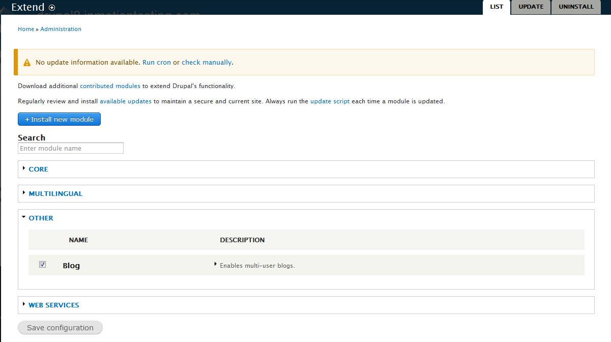 edu Drupal 8 204 install enable blog 4 enable blog