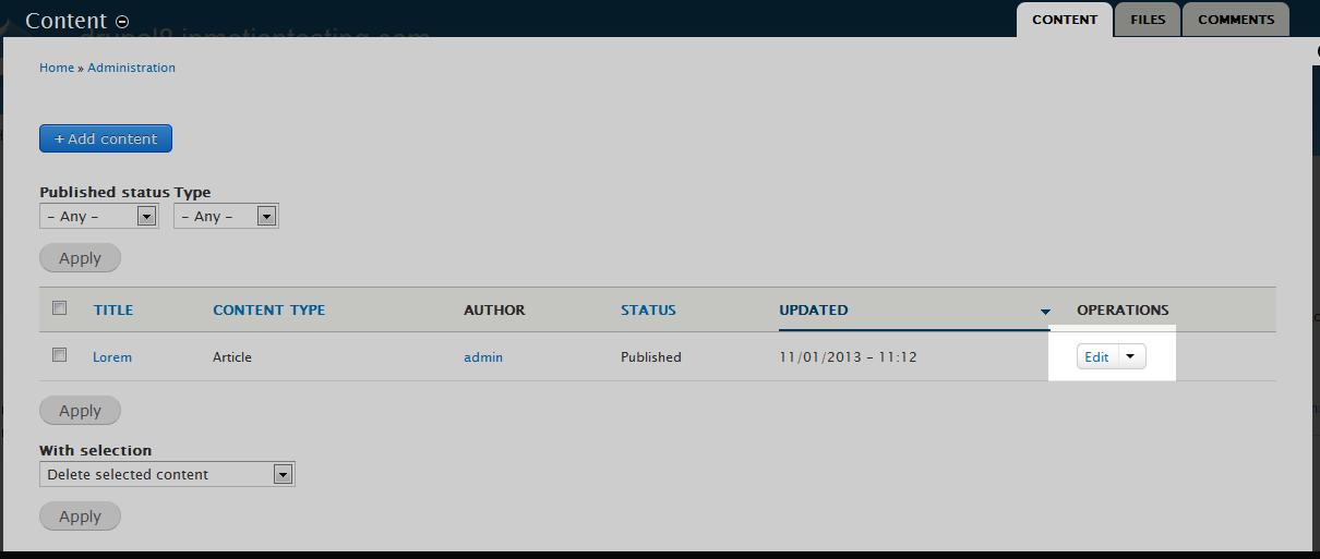 edu Drupal 8 301 1 select content item