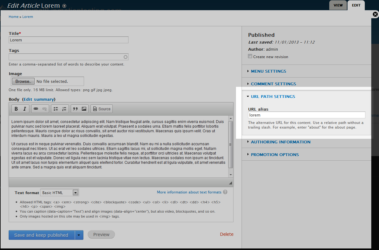 edu Drupal 8 301 2 url path settings