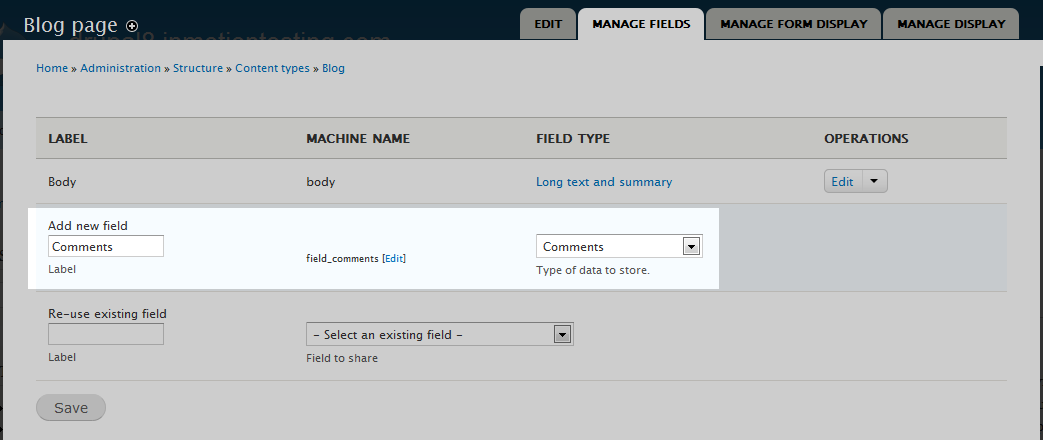 302: Creating a comment field for content types in Drupal 8