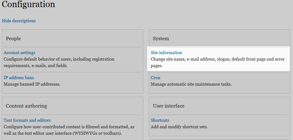 edu Drupal 8 205 change site details 1 click site info
