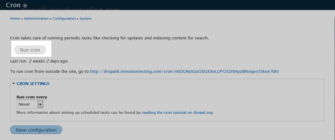 edu Drupal 8 205 set cron interval 3 run manually