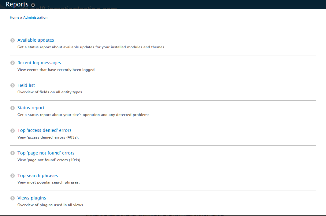 edu Drupal 8 307 1 reports list