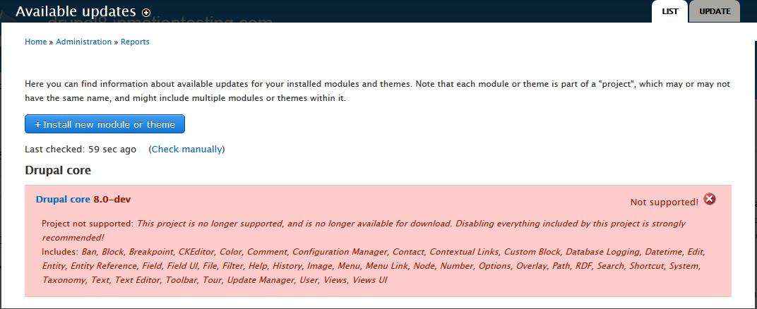 edu Drupal 8 307 2 available updates