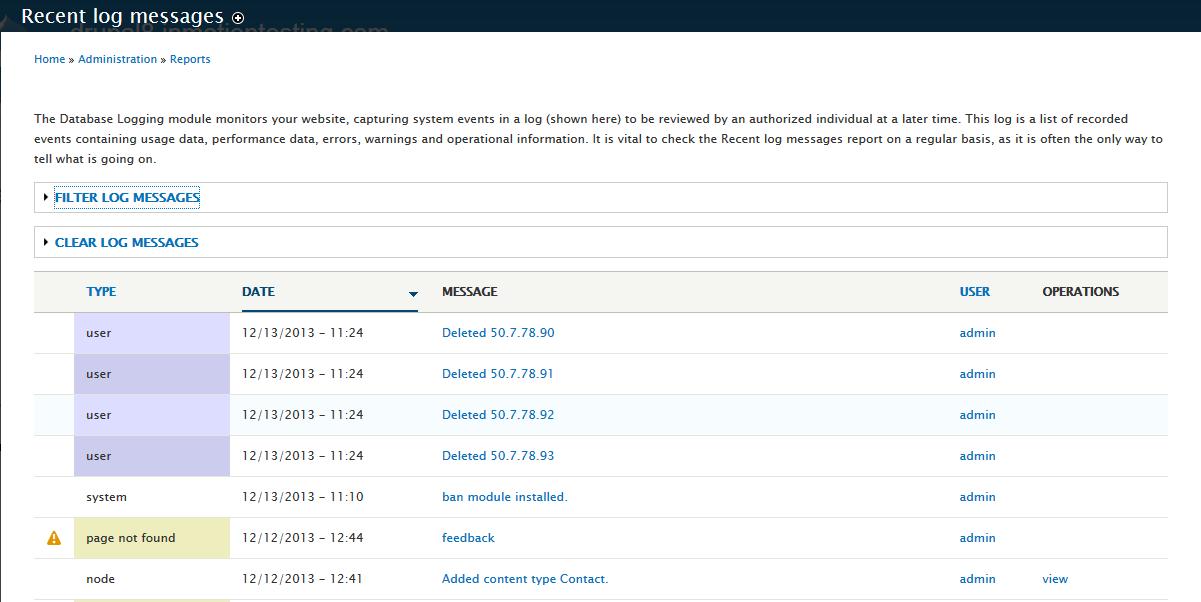 edu Drupal 8 307 3 recent log messages
