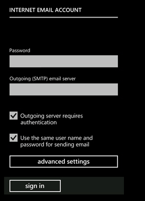 Enter the SMTP settings for outgoing email