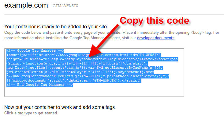 google tag manager container code