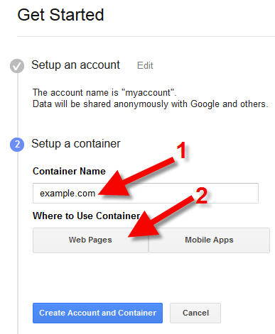 google tag manager container name