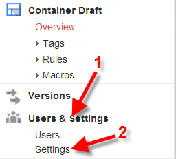google tag manager container settings