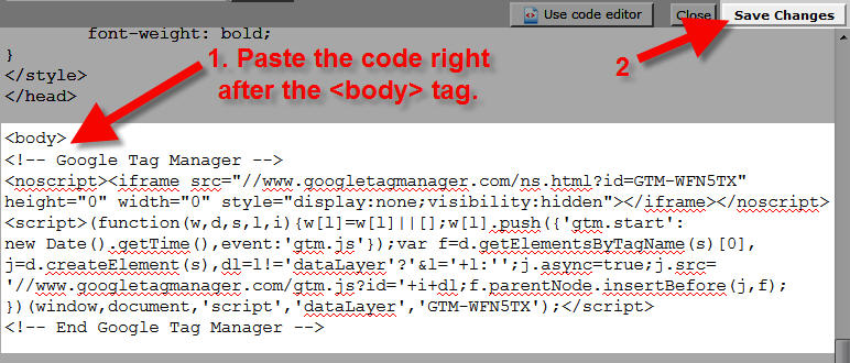 google tag manager paste google tag manager code