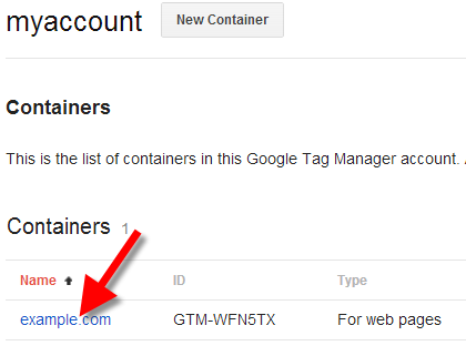 google tag manager select container