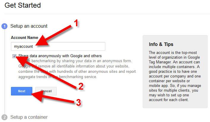 google tag manager setup account