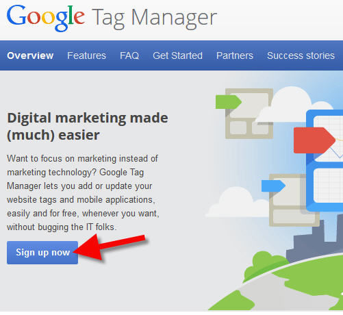 google tag manager sign up