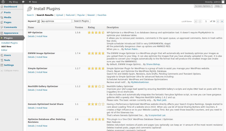 wordpress plugins wp optimize 1