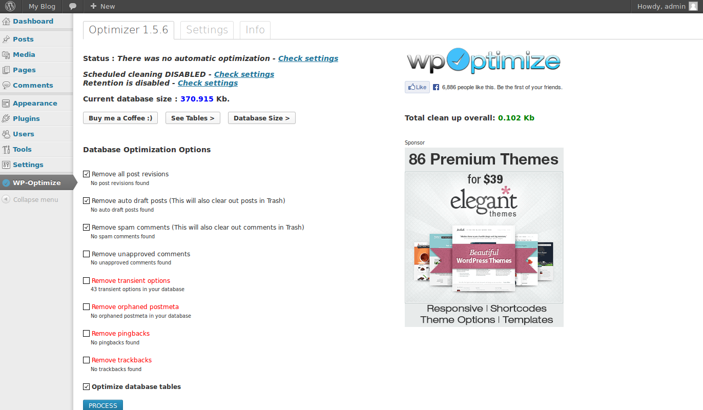 wordpress plugins wp optimize 3