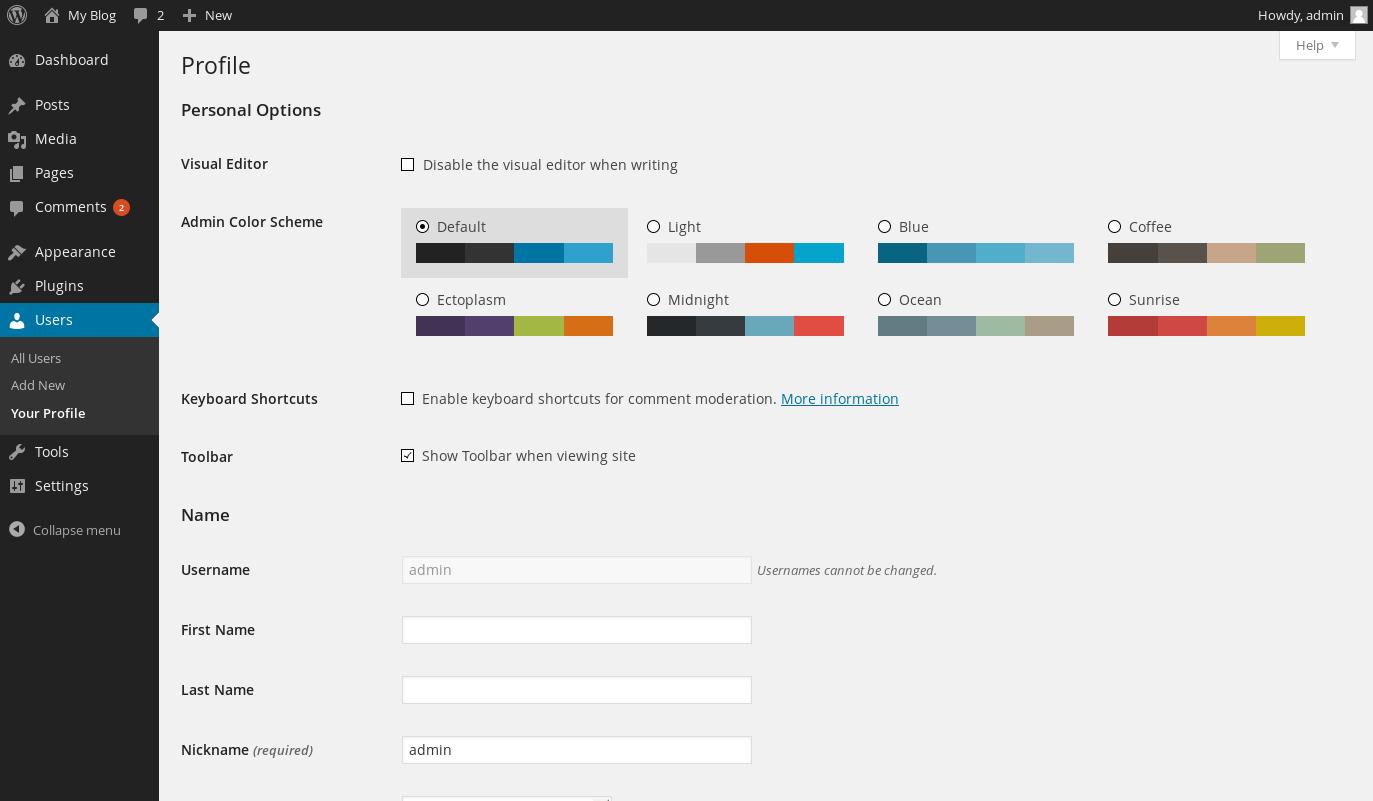 wordpress admin color 1
