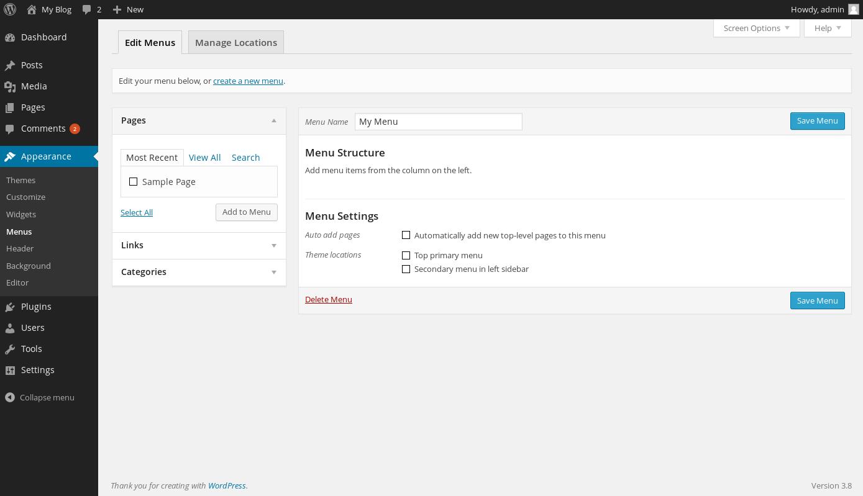 wordpress custom menus 2