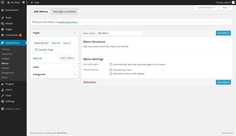wordpress custom menus 3