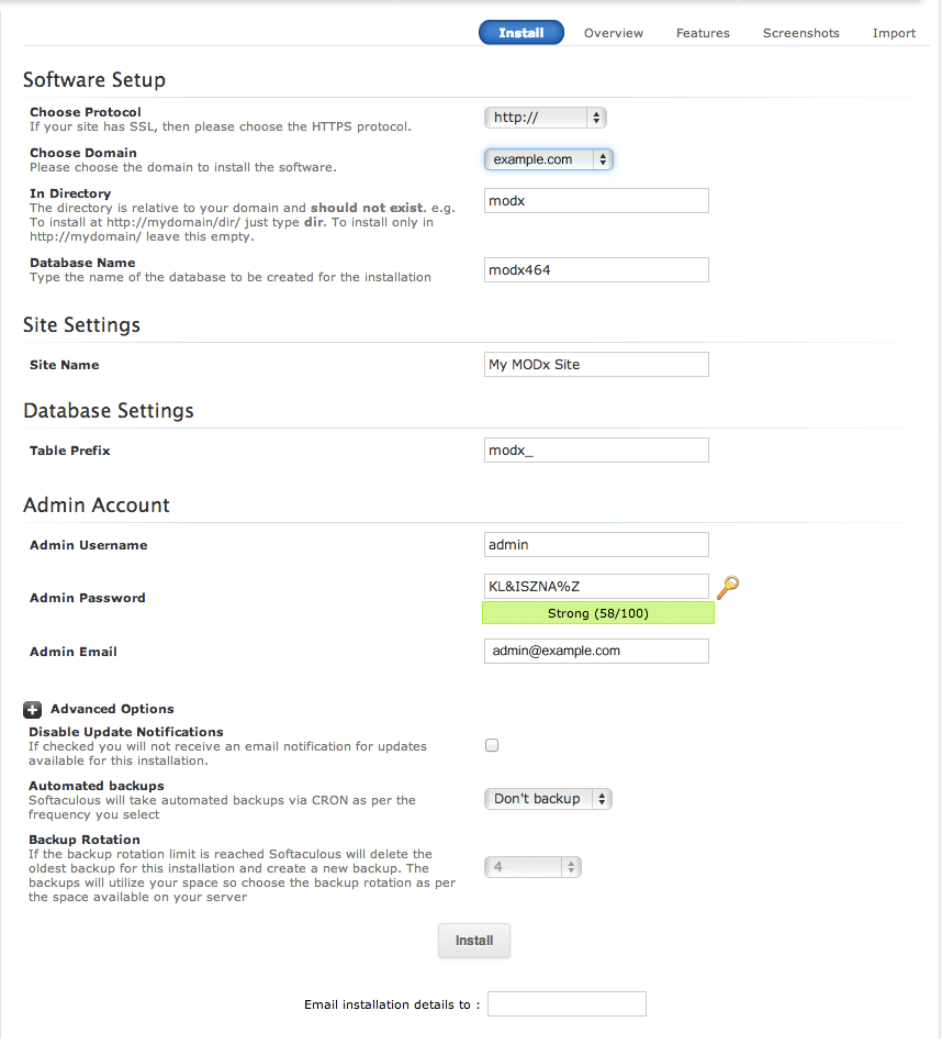 Settings screen for MODx installation