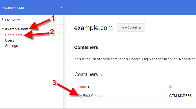 google tag manager choosing container