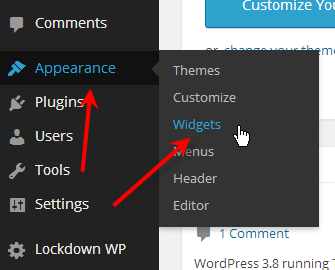hover over appearance click on widgets