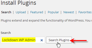 type in lockdown wp-admin click search plugins
