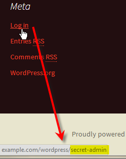 wordpress meta log in link still links to secret admin