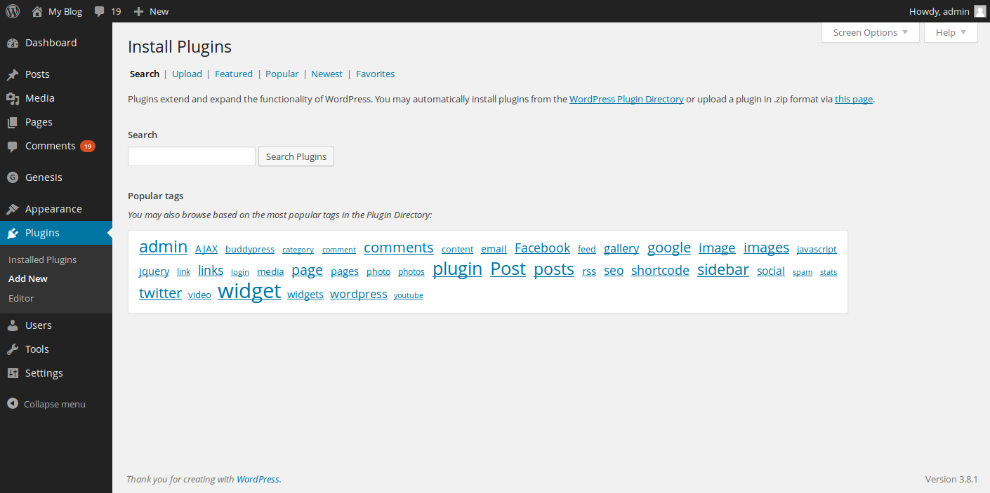 Now, look to the left side of the WordPress dashboard and click on Plugins, then click on Add New button.