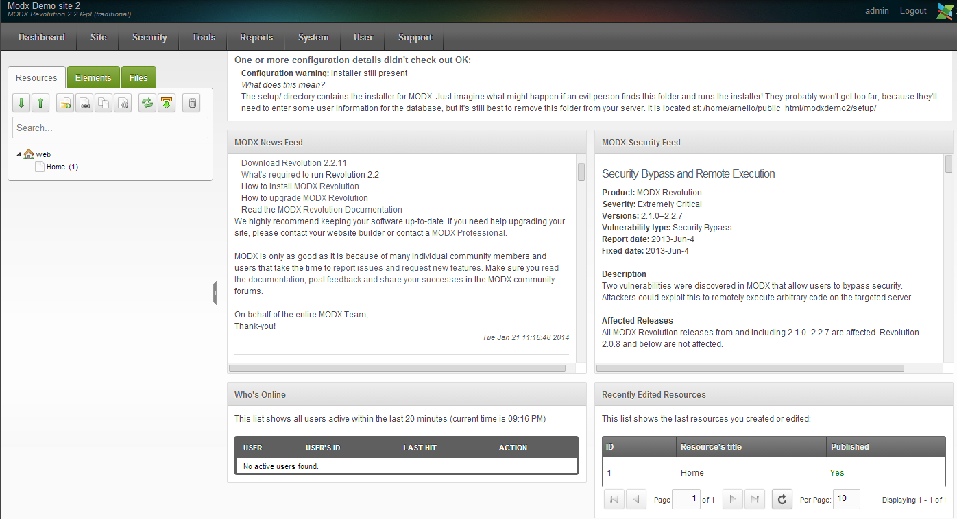 MODx Manager screen