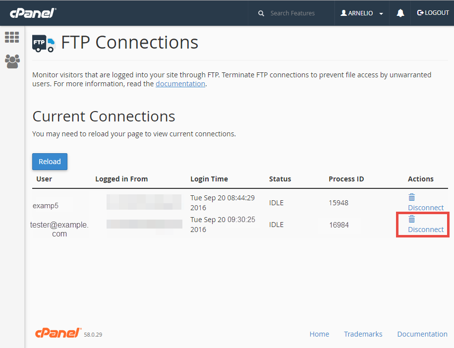ftp ftp connections table