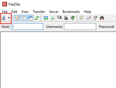 site manager in filezilla