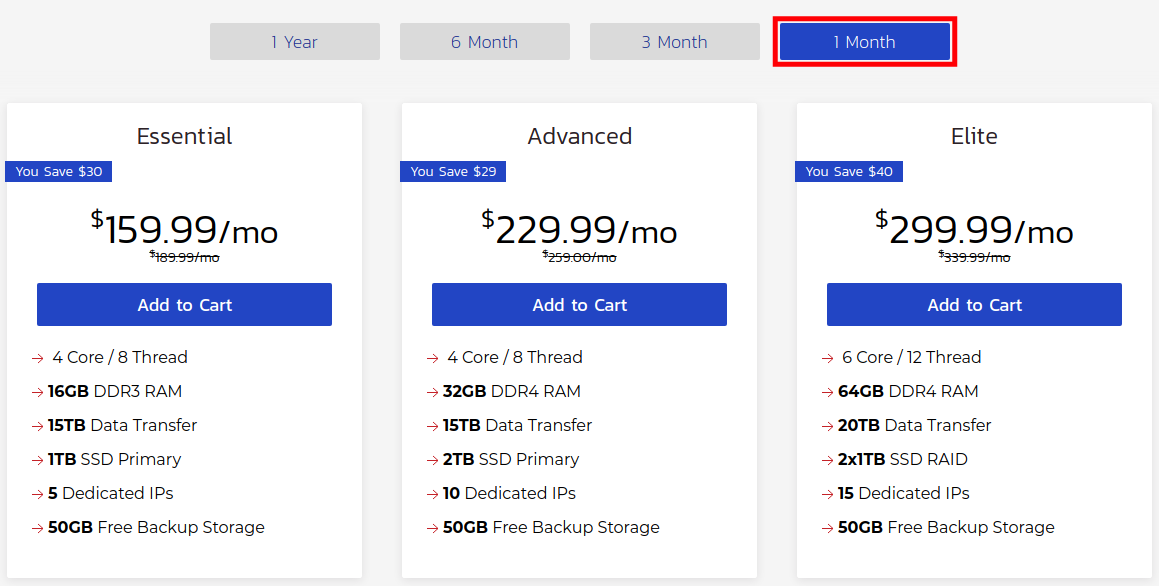 Choose the Terms for your Hosting Plan