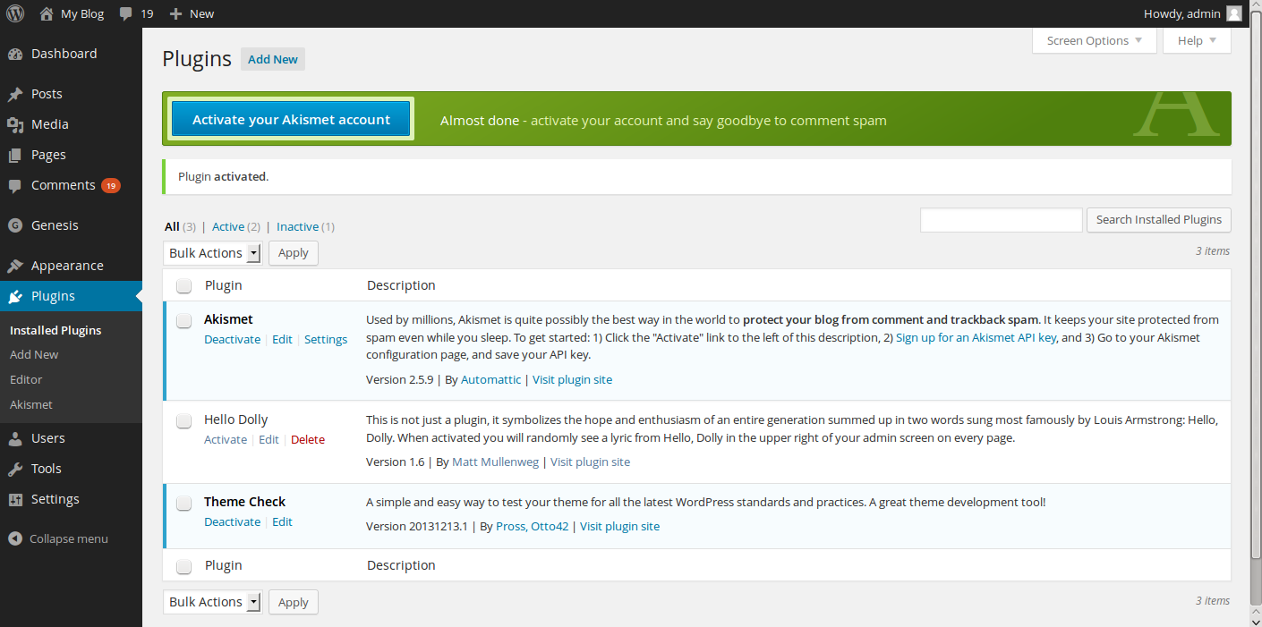 stopping WordPress comment spam API key page