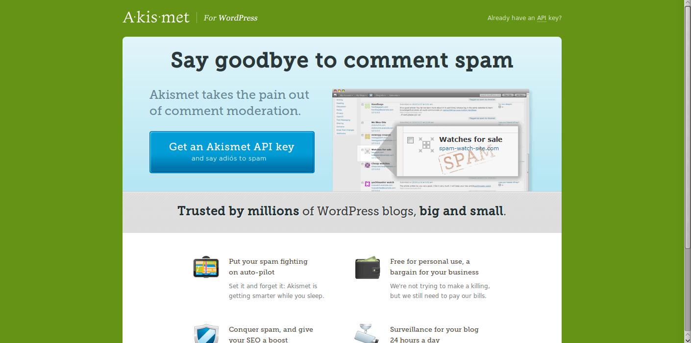 stopping WordPress comment spam Akismet website