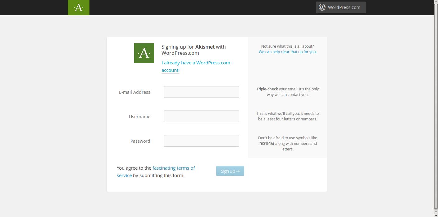 stopping WordPress comment spam Akismet website wordpress.com login