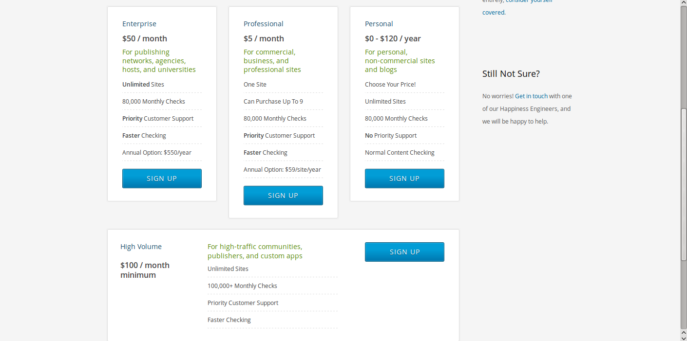 stopping WordPress comment spam Akismet plan page