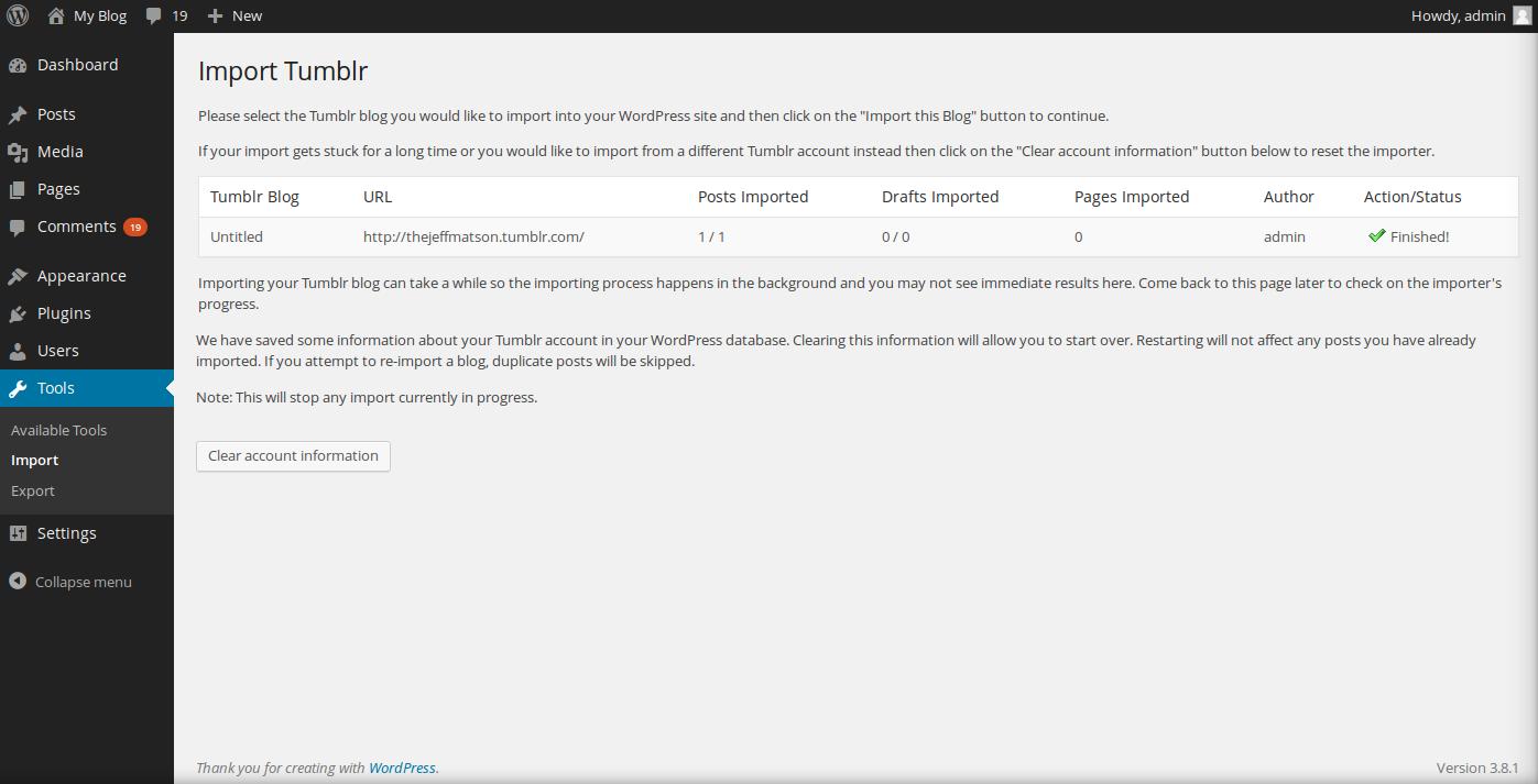 tumblr import to wordpress complete