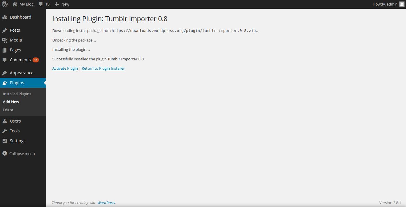 install tumblr importer step 3