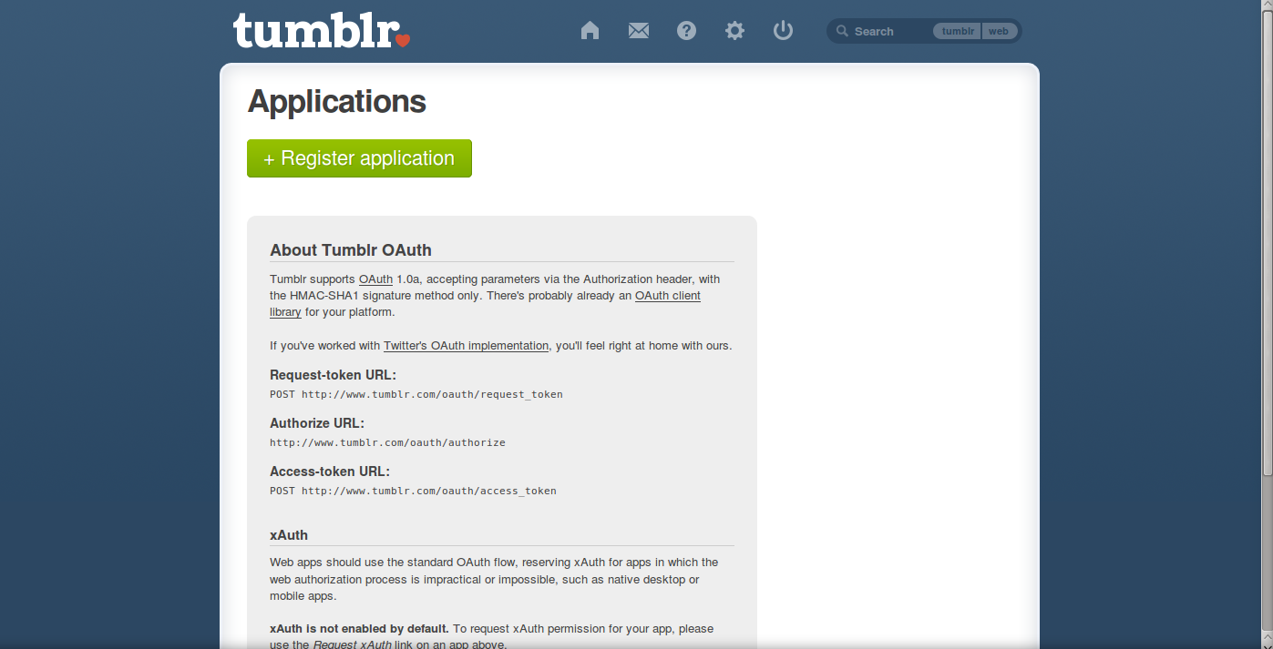 getting to tumblr api screen