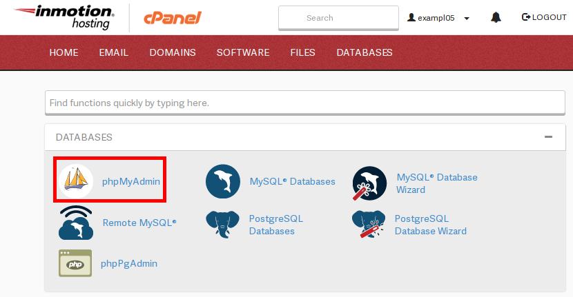 cpanel cPanel phpMyAdminIcon highlight