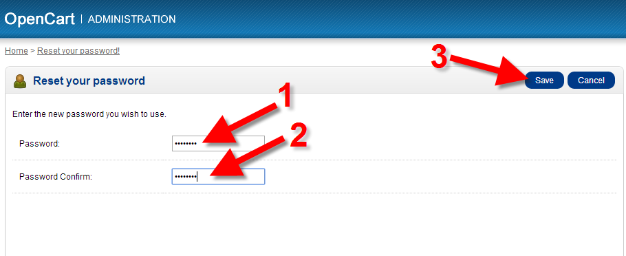 create a new admin password for opencart