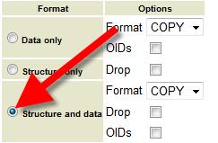 postgresql export db select export format