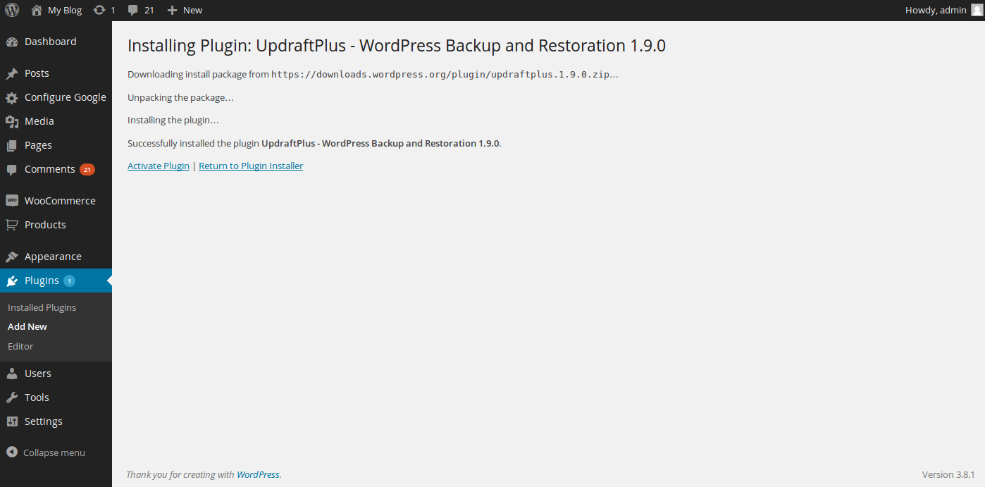 wordpress google drive backup 3