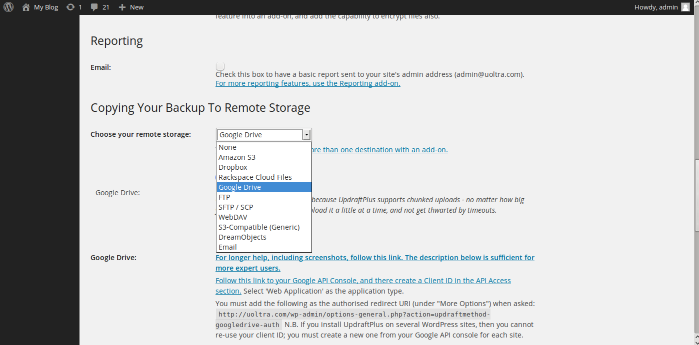 wordpress google drive backup 5
