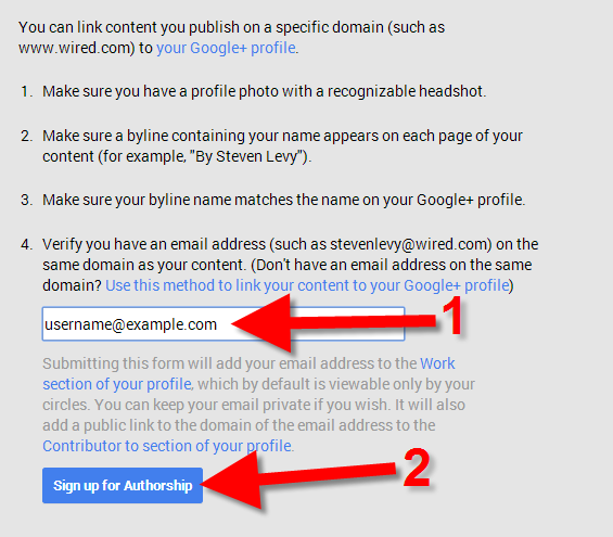 signing up for google authorship