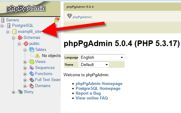 How to Import a PostgreSQL database using phpPgAdmin