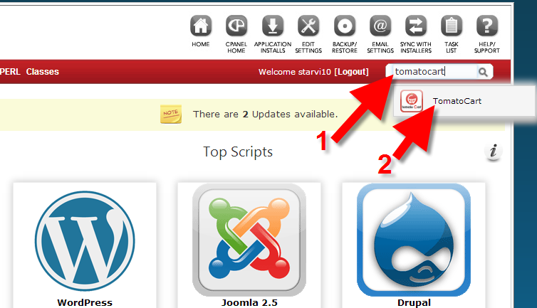 look for tomato cart cms in cPanel